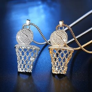3/$30 Gold Silver Basketball Diamonl Hoop Necklace